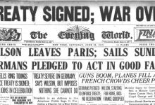 Newspaper Headline Announcing Treaty of Versailles