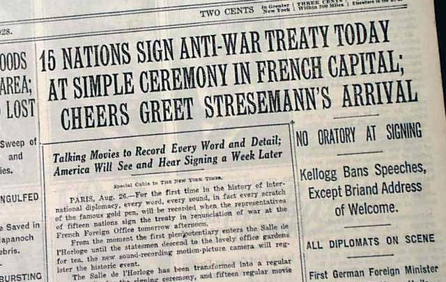 Newspaper Announcement of Kellogg Briand Pact