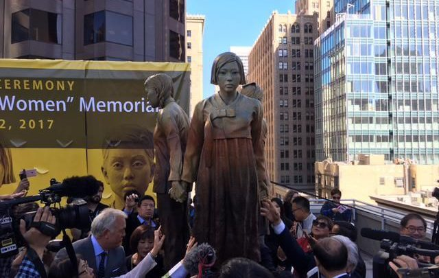 Unveiling of the Korean Comfort Women Memorial statue. 2017.